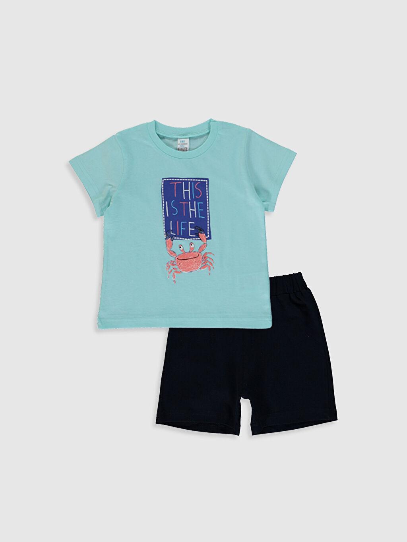 Mavi Erkek Bebek Baskılı Tişört ve Şort 0SAB79Z1 LC Waikiki