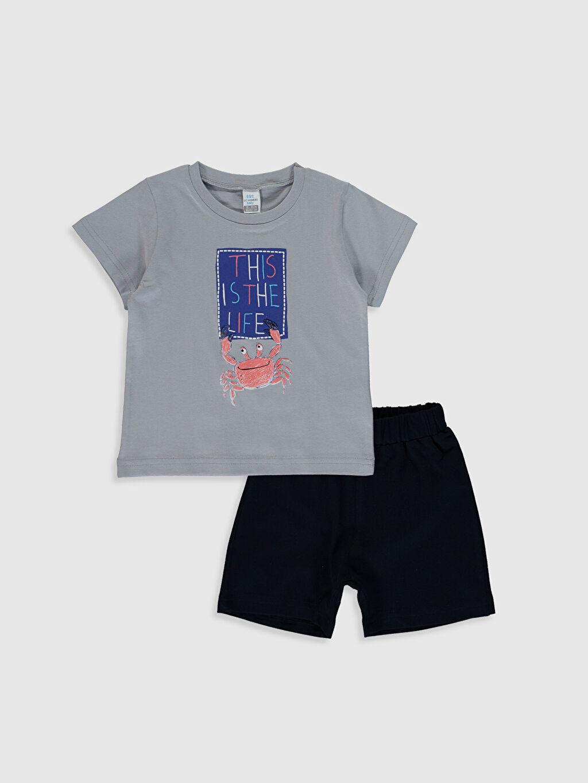 Gri Erkek Bebek Baskılı Tişört ve Şort 0SAB79Z1 LC Waikiki
