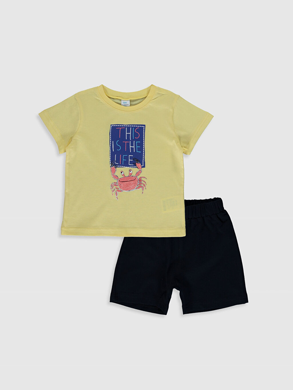 Sarı Erkek Bebek Baskılı Tişört ve Şort 0SAB79Z1 LC Waikiki