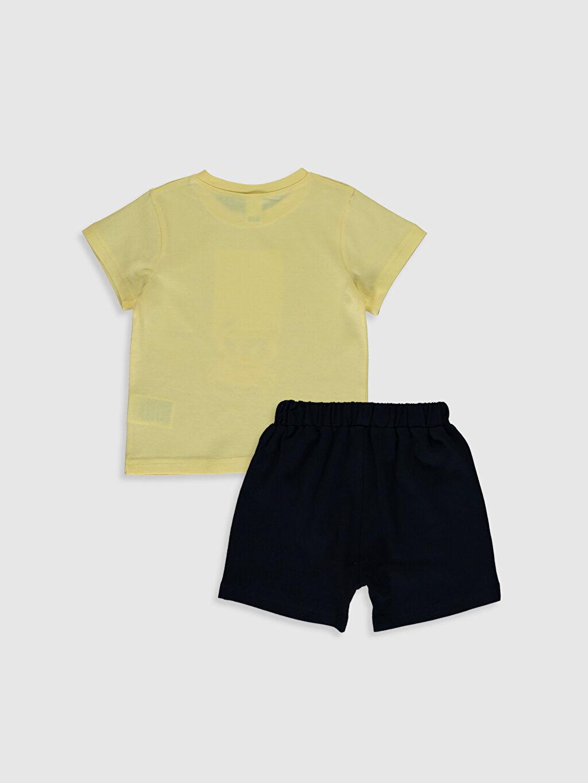 %95 Pamuk %5 Elastan %100 Pamuk %100 Pamuk Aksesuarsız Standart İnce Günlük Düz Takım Kısa Kol Penye Erkek Bebek Baskılı Tişört ve Şort