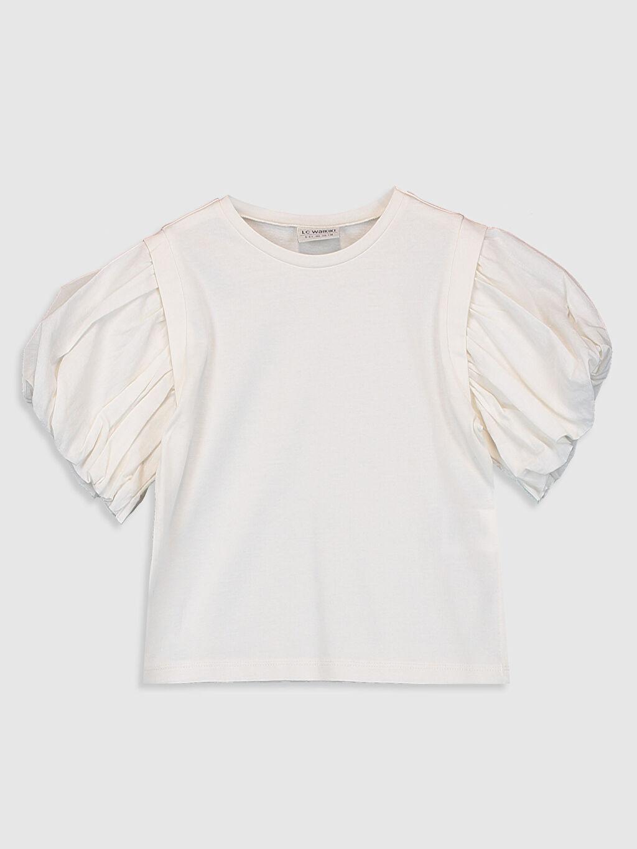 Ekru Kız Çocuk Pamuklu Basic Tişört 0SAE34Z4 LC Waikiki