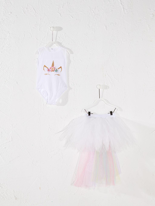 Beyaz Tameris Kız Çocuk Baskılı Kostüm 0SAH19Z4 LC Waikiki