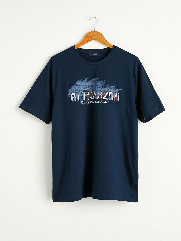 Lacivert Bisiklet Yaka Trabzon Baskılı Penye Tişört 0SAH56Z8 LC Waikiki