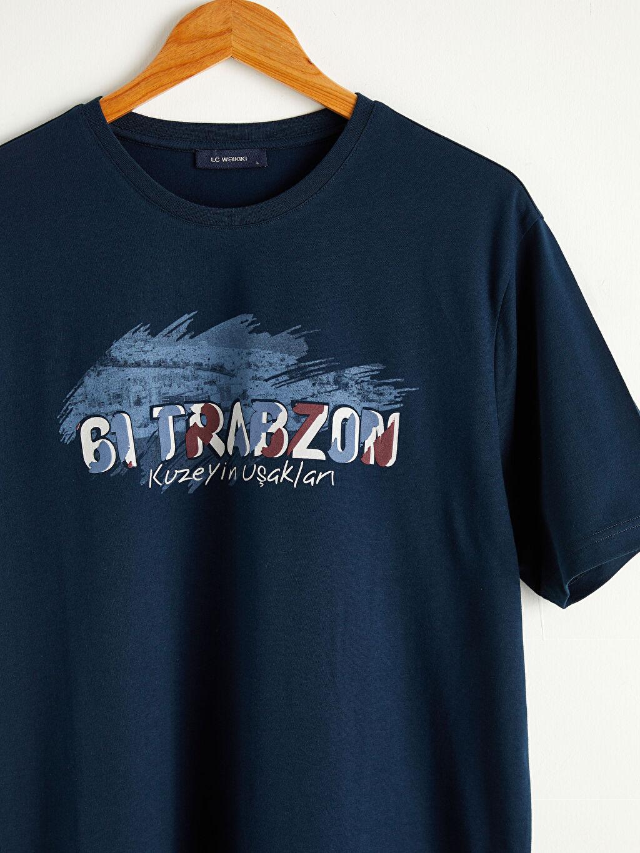 Erkek Bisiklet Yaka Trabzon Baskılı Penye Tişört
