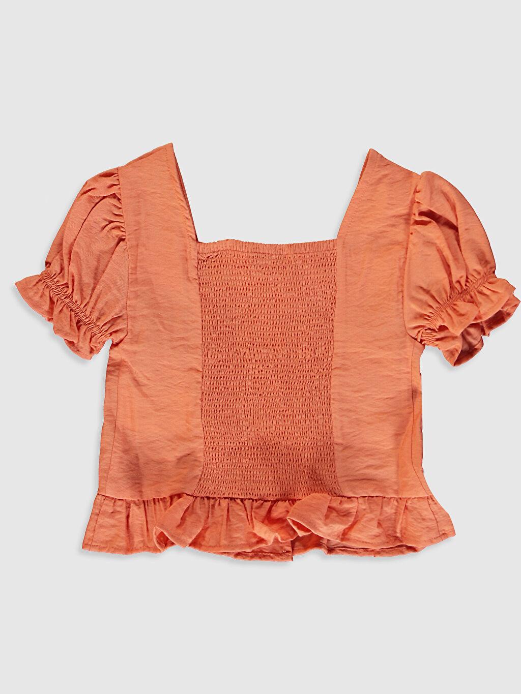 %12 Poliester %88 Viskoz Kısa Kol Düz Bisiklet Yaka Gömlek Gabardin Kız Çocuk Viskon Gömlek
