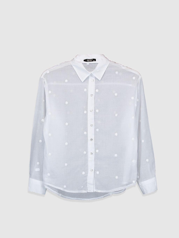 Beyaz Quzu Puantiye Nakışlı Gömlek 0SAI64Z8 LC Waikiki