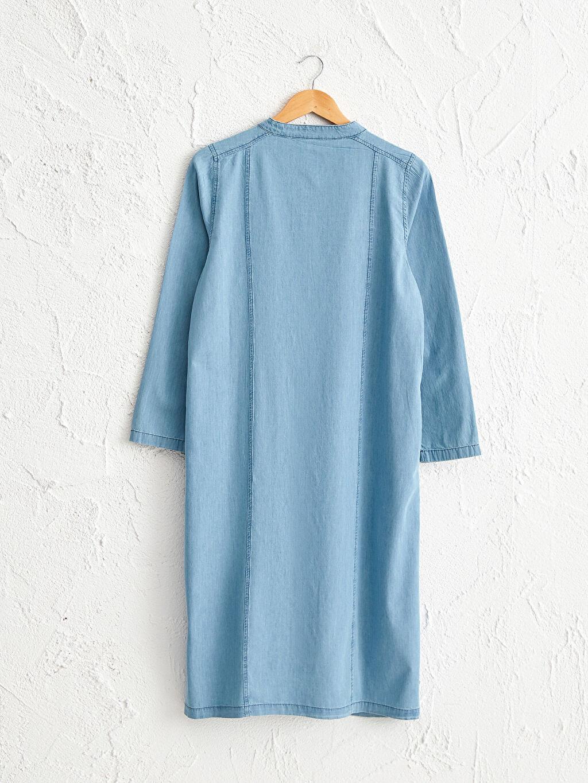 %100 Pamuk %100 Pamuk Standart İnce Normal Bel Uzun Uzun Kol Jean Tunik Düz Uzun Jean Tunik