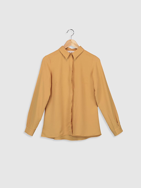 Sarı Sateen Düz Klasik Gömlek 0SAJ27Z8 LC Waikiki