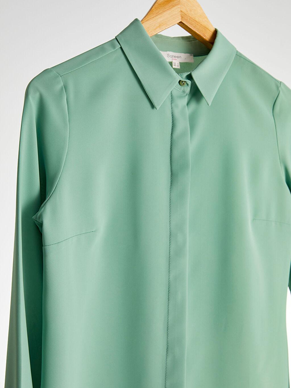 Kadın Sateen Düz Klasik Gömlek