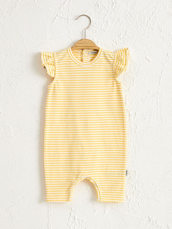Sarı Antebies Organik Pamuklu Kız Bebek Desenli Patikli Tulum 0SAN75Z1 LC Waikiki