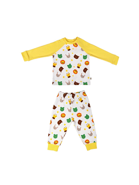 Beyaz Organic Kid Organik Pamuklu Baskılı Pijama Takımı 0SAP89Z1 LC Waikiki