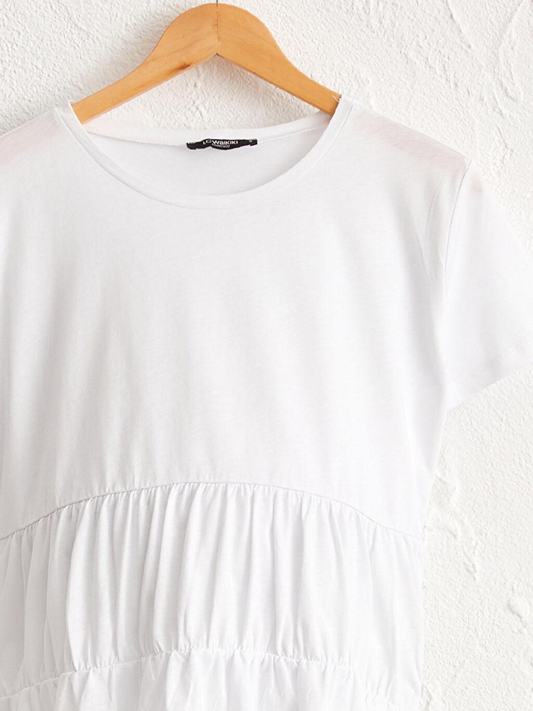 Kadın Fırfır Detaylı Pamuklu Hamile Tişört