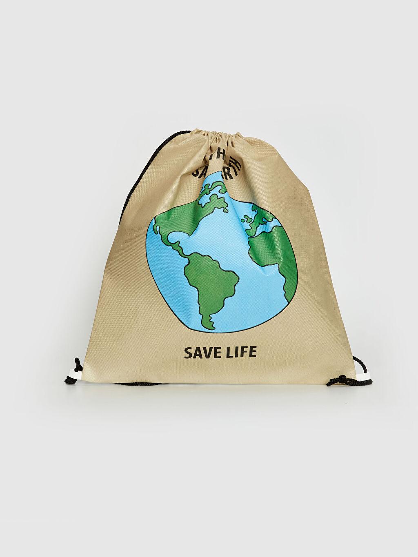 %100 Polipropilen Çanta Düz Doğa Dostu Büzgü Kapamalı Baskılı Çanta
