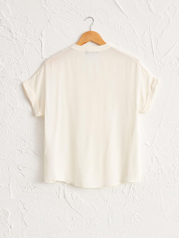 İnce Günlük V Yaka Kısa Kol Bluz Düz Yaka Detaylı Viskon Hamile Bluz