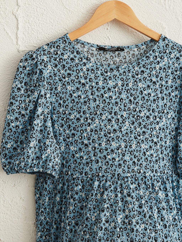 %99 Polyester %1 Elastan Çiçek Desenli Hamile Elbise
