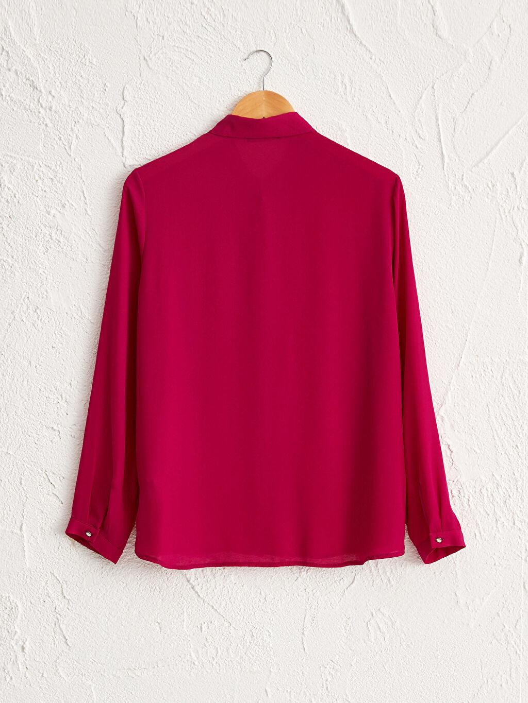 %100 Polyester İnce Şifon Uzun Kol Gömlek Uzun Pat Standart Yakası Boncuk İşlemeli Şifon Gömlek