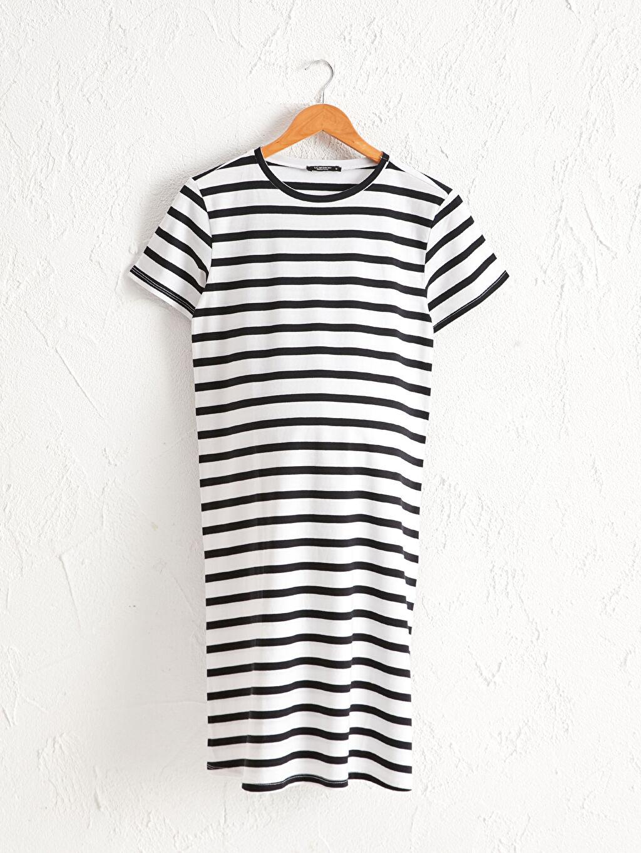 Siyah Çizgili Pamuklu Hamile Elbise 0SBF57Z8 LC Waikiki