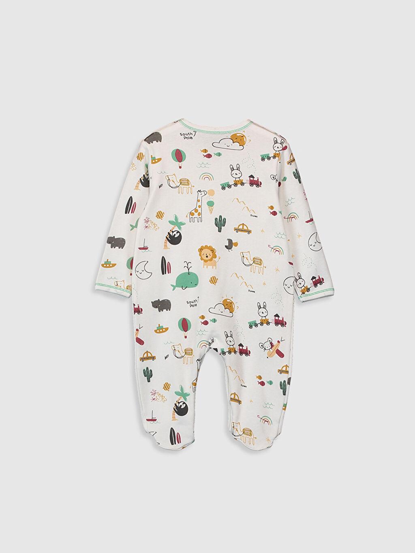 Baskılı V Yaka Tulum Uzun Kol Luggi Baby Pamuklu Tulum