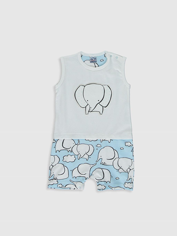 Mavi Erkek Bebek Baskılı Pamuklu Tulum 0SBG05Z1 LC Waikiki