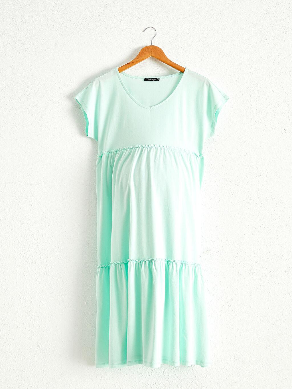 Yeşil Pamuklu Hamile Elbise 0SBI92Z8 LC Waikiki