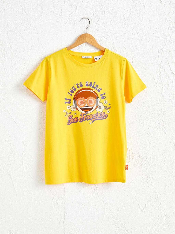 Sarı Baskılı Pamuklu Tişört 0SBJ12Z8 LC Waikiki