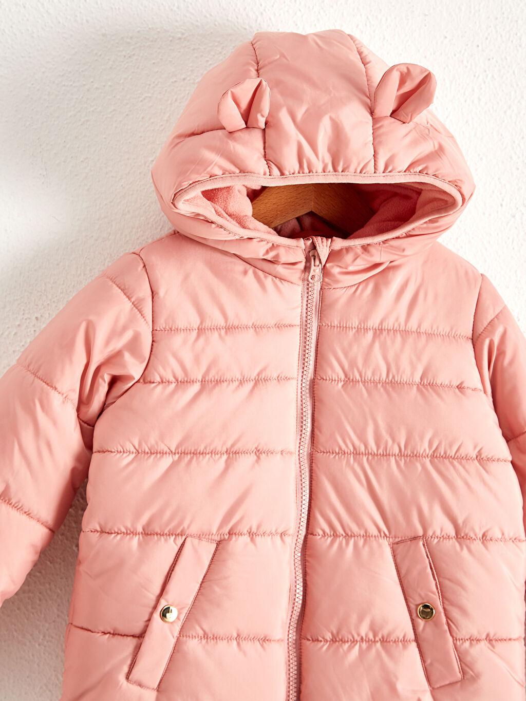 %100 Polyester %100 Polyester Şişme Mont Taffeta Astar Kapüşonlu Düz Kız Çocuk Kapüşonlu Şişme Mont