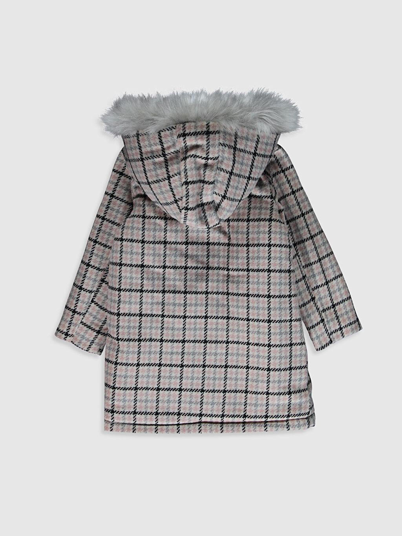 %100 Polyester Aksesuarsız Polar Astar Kapüşonlu Gabardin Kaban Midi Kız Çocuk Kaşe Kaban