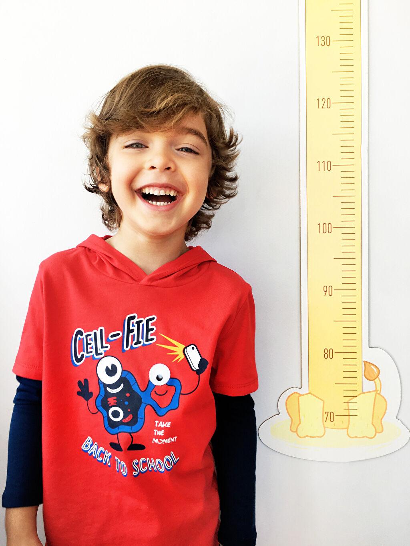 %100 Pamuk %100 Pamuk Tişört Bisiklet Yaka Kapüşonlu Uzun Kol Standart Baskılı Erkek Çocuk Baskılı Kapüşonlu Tişört