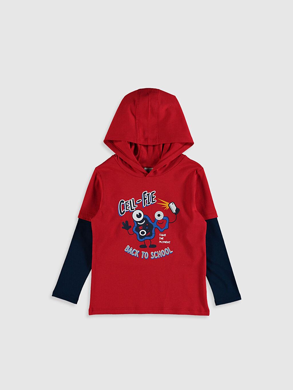 Kırmızı Erkek Çocuk Baskılı Kapüşonlu Tişört 0W1606Z4 LC Waikiki