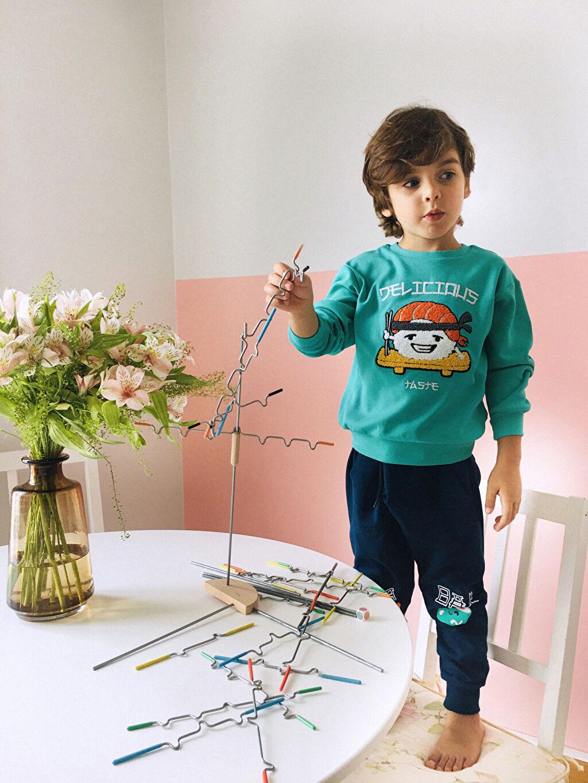 %82 Pamuk %18 Polyester İnce Sweatshirt Kumaşı Baskılı Eşofman Altı Erkek Çocuk Jogger Eşofman Altı