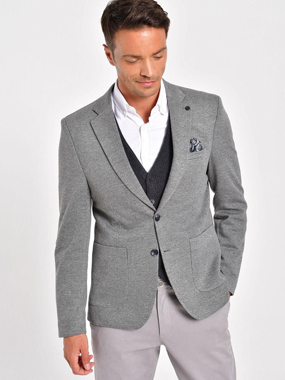 %100 Polyester Dar Blazer Ceket Astarlı Ekose Dar Kalıp Blazer Ceket