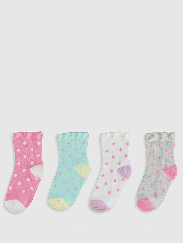 %60 Pamuk %20 Polyester %19 Poliamid %1 Elastan Baskılı Orta Kalınlık Soket Çorap Yüksek Pamuk İçerir Kız Bebek Soket Çorap 4'Lü