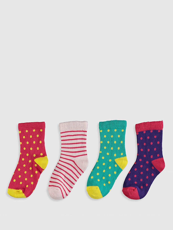 %80 Pamuk %18 Poliamid %2 Elastan Baskılı Orta Kalınlık Soket Çorap Yüksek Pamuk İçerir Kız Bebek Soket Çorap 4'Lü