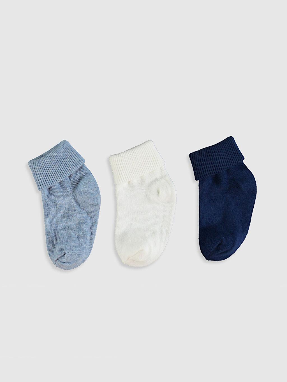 %78 Pamuk %20 Poliamid %2 Elastan Soket Çorap Orta Kalınlık Düz Yüksek Pamuk İçerir Erkek Bebek Soket Çorap 3'Lü