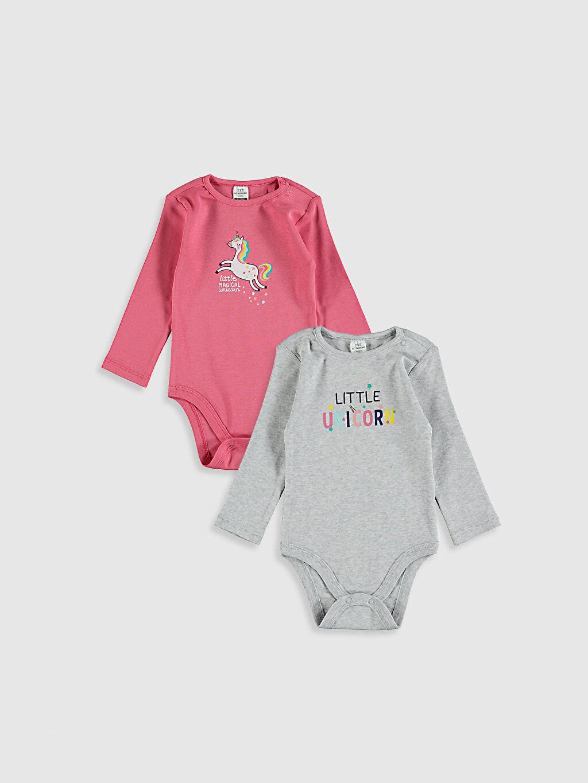 Gri Kız Bebek Çıtçıtlı Body 2'Li 0W2960Z1 LC Waikiki