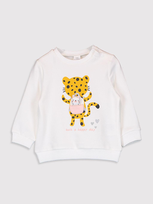 Ekru Kız Bebek Baskılı Sweatshirt 0W3276Z1 LC Waikiki