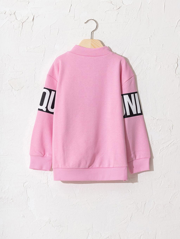 %65 Pamuk %35 Polyester Sweatshirt Baskılı Kapüşonsuz Uzun Kol Dik Yaka Kız Çocuk Slogan Baskılı Sweatshirt