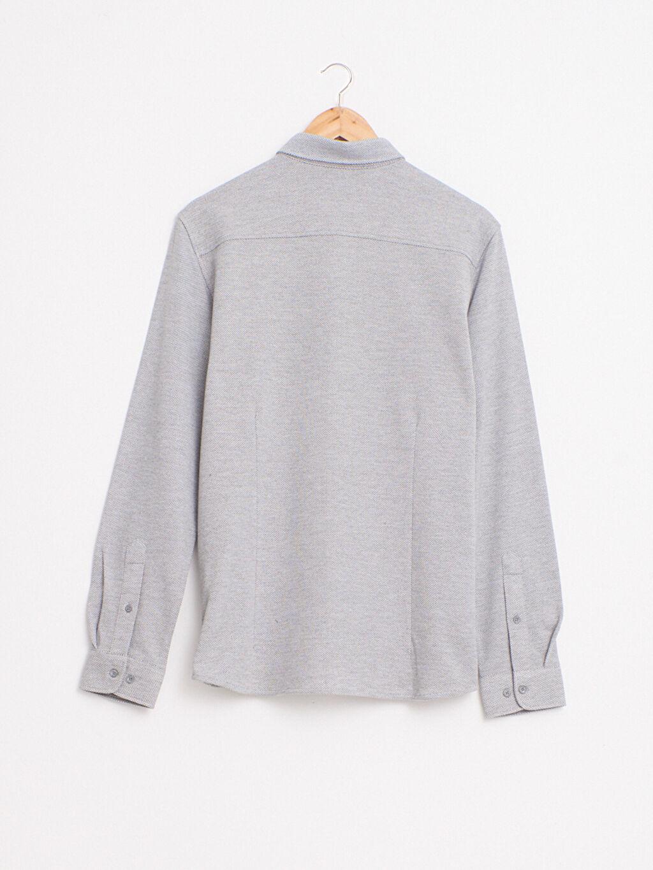 %75 Pamuk %25 Polyester Yüksek Pamuk İçerir Gömlek Patlı Orta Kalınlık Diğer Uzun Kol Düğmeli Gömlek Yaka Slim Fit Uzun Kollu Çizgili Gömlek
