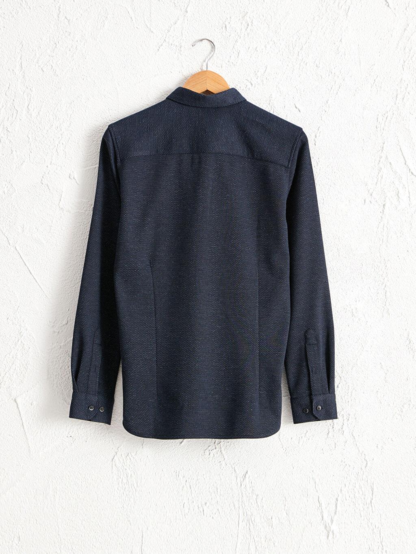 %77 Polyester %3 Elastan %20 Viskoz Patlı Diğer Uzun Kol Gömlek Kalın Düğmeli Gömlek Yaka Slim Fit Uzun Kollu Armürlü Gömlek