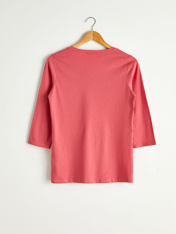 %100 Pamuk İnce Standart Tişört 3/4 Boy Penye Düz Yakası Düğmeli Pamuklu Tişört