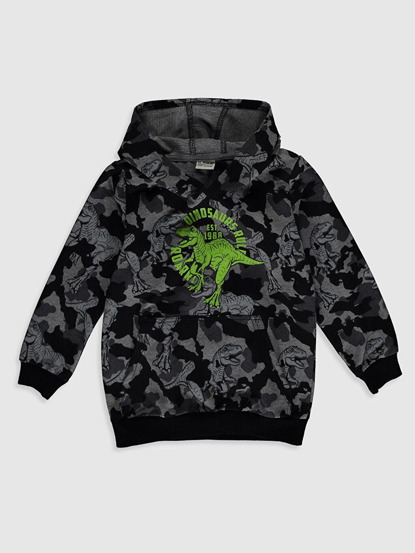 Antrasit Erkek Çocuk Dinazor Baskılı Sweatshirt 0W3985Z4 LC Waikiki