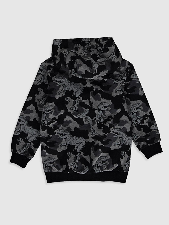 %57 Pamuk %43 Polyester İnce Sweatshirt Kumaşı Sweatshirt Baskılı Kapüşonlu Uzun Kol Erkek Çocuk Dinazor Baskılı Sweatshirt