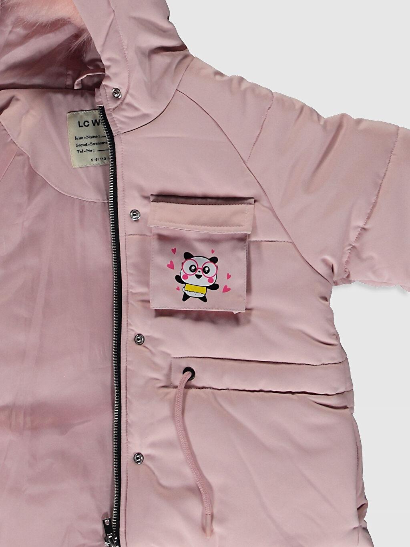 %100 Polyester Kız Çocuk Kapüşonlu Mont