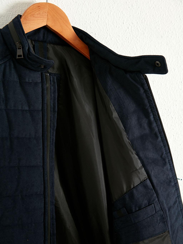 %100 Polyester %100 Polyester Mont Düz Süet Kalın Dar Dik Yaka Uzun Kol Slim Fit Süet Mont