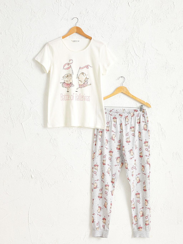 Ekru Baskılı Pijama Takımı 0W5529Z8 LC Waikiki
