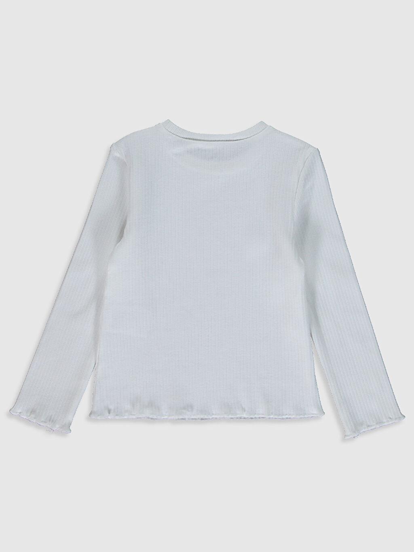 %94 Pamuk %6 Elastan Tişört Bisiklet Yaka Uzun Kol Düz Kız Çocuk Pamuklu Basic Tişört