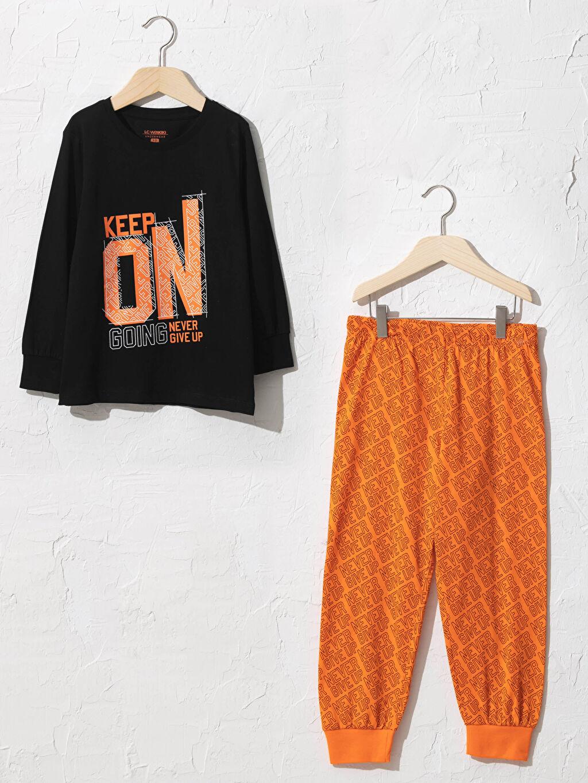Turuncu Erkek Çocuk Baskılı Pijama Takımı 0W6298Z4 LC Waikiki
