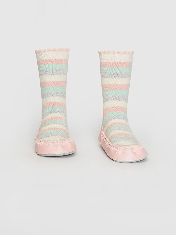 %83 Pamuk %5 Poliester %11 Poliamid %1 Elastane Kalın Yüksek Pamuk İçerir Ev Çorabı Çizgili Kız Bebek Ev Çorabı
