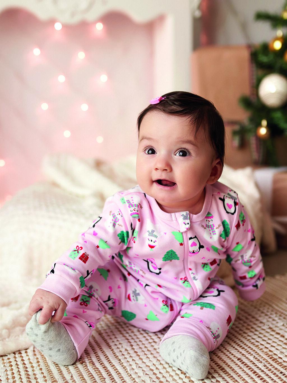 Pembe Kız Bebek Yılbaşı Temalı Tulum 0W7895Z1 LC Waikiki