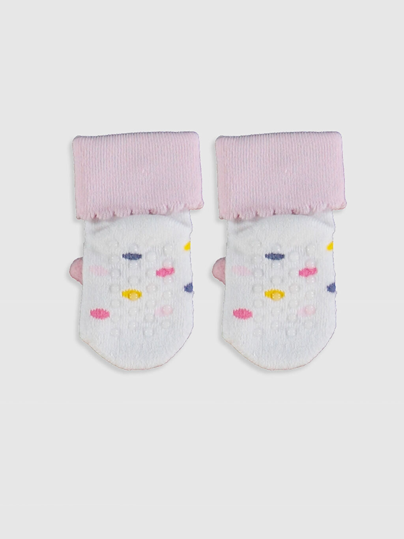 %81 Pamuk %17 Poliamid %2 Elastan Kız Bebek Ev Çorabı